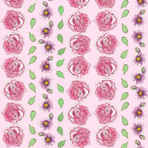 Pink Carnation Stripe fabric by countrygarden on Spoonflower - custom fabric