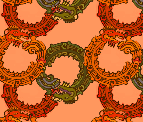 Mayan_snakes on orange fabric by m__elizabethblair on Spoonflower - custom fabric