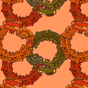 Mayan_snakes on orange