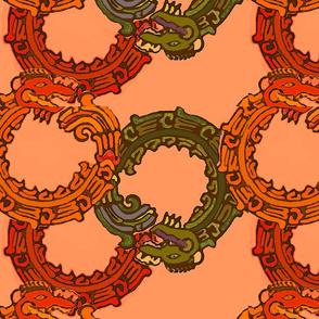 Mayan_snakes on orange
