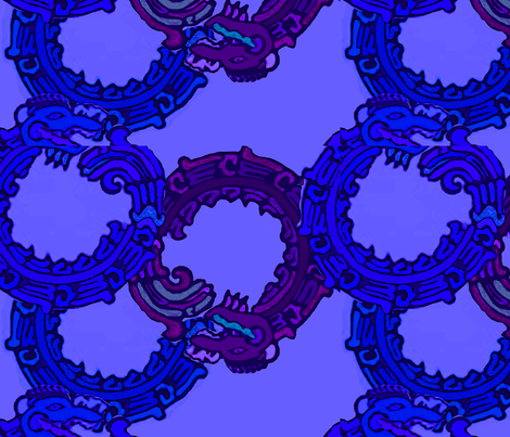 Mayan_snakes on blue background fabric by m__elizabethblair on Spoonflower - custom fabric