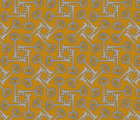 key_rotations_silver_on_gold fabric by glimmericks on Spoonflower - custom fabric