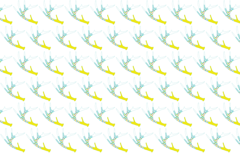 Painted Antler Turquoise Mint Pink Yellow fabric by curious_nook on Spoonflower - custom fabric