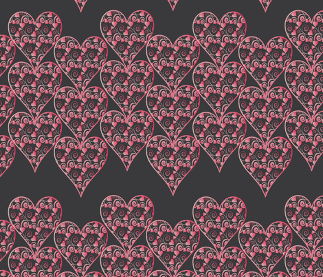 hearts on black fabric by kociara on Spoonflower - custom fabric