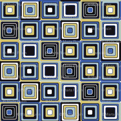 mosaic blue and sepia