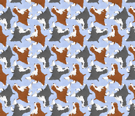 Trotting Springer Spaniels - blue fabric by rusticcorgi on Spoonflower - custom fabric