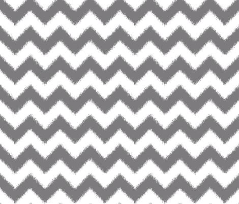 Ikat Chevron in Steel Gray and White fabric by fridabarlow on Spoonflower - custom fabric