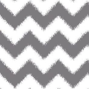 Ikat Chevron in Steel Gray and White