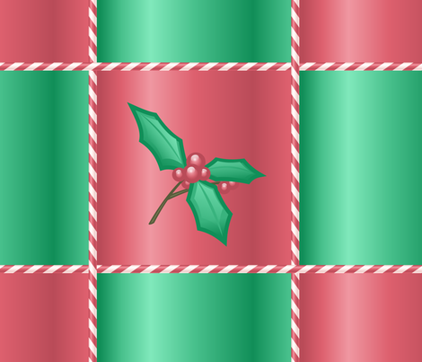 Holly branch on red and green fabric by bubblequartz on Spoonflower - custom fabric