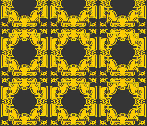 Iron Gates in Charcoal and Gold fabric by fridabarlow on Spoonflower - custom fabric
