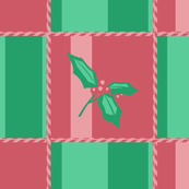 Holly branch on red and green - simplified
