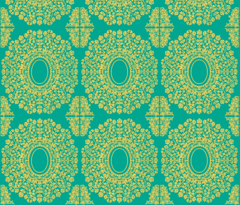 Lace Floral Medallion in Emerald and Gold fabric by fridabarlow on Spoonflower - custom fabric