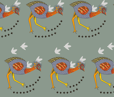 Emu on the plains fabric by wiccked on Spoonflower - custom fabric