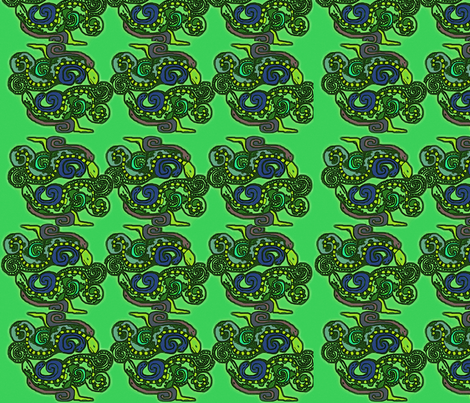 Mayan snakes on green fabric by m__elizabethblair on Spoonflower - custom fabric