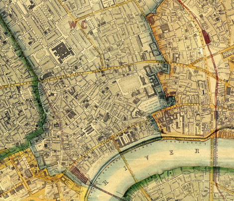 London Vintage Map fabric by janinez on Spoonflower - custom fabric