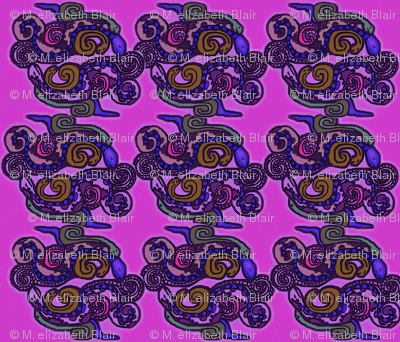 Mayan_snakes on pink background