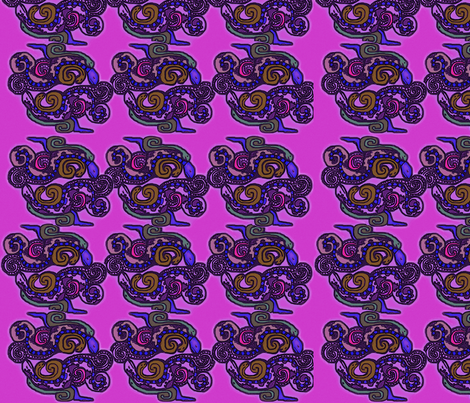 Mayan_snakes on pink background fabric by m__elizabethblair on Spoonflower - custom fabric