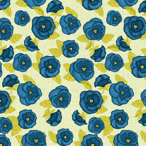 Pansy (linen background) fabric by kirpa on Spoonflower - custom fabric