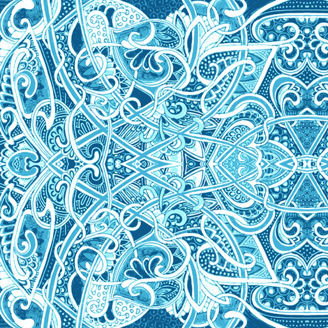 Big Blue Romantic Tangle of Dots and Hearts fabric by edsel2084 on Spoonflower - custom fabric