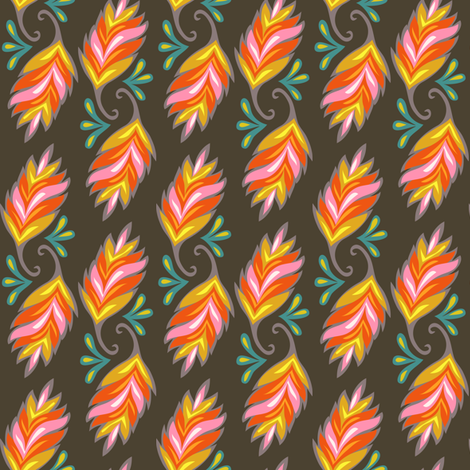 Year of the Snake coordinating fabric - leaf fabric by irrimiri on Spoonflower - custom fabric