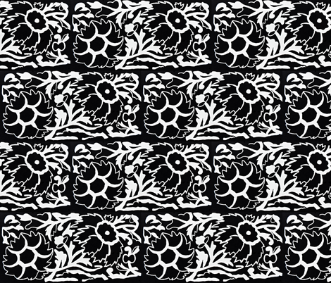 Flowers in Black and White fabric by anniedeb on Spoonflower - custom fabric