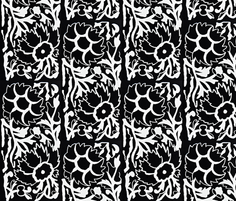 Flowers in Black and White (Vertical) fabric by anniedeb on Spoonflower - custom fabric