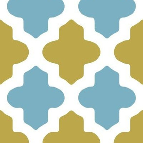 Moroccan Quatrefoil in Blue and Sage