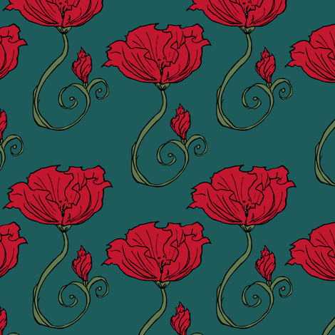 Dark Poppy fabric by pond_ripple on Spoonflower - custom fabric