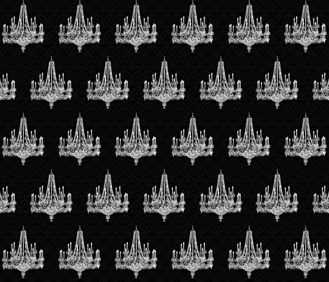 Black Damask Chandeliers fabric by pencreations on Spoonflower - custom fabric