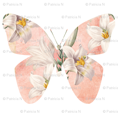 Peach Butterfly with Lilies