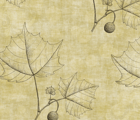 Neutral Sketched Leaves fabric by peacefuldreams on Spoonflower - custom fabric