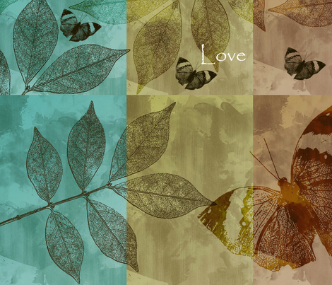 Butterflies and Leaves Love, Hope and Dream fabric by peacefuldreams on Spoonflower - custom fabric