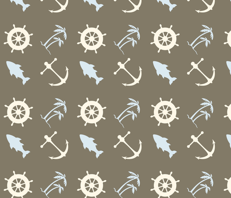Brown Cocoa Marine fabric by pencreations on Spoonflower - custom fabric