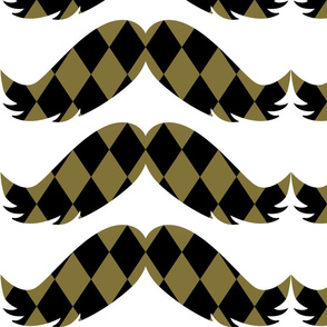 Gold and Black Diamonds Mustache