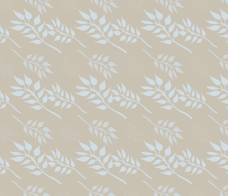 Cream with Blue Leaves fabric by pencreations on Spoonflower - custom fabric