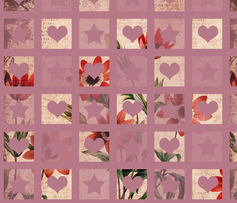 Hearts and Stars Floral fabric by peacefuldreams on Spoonflower - custom fabric