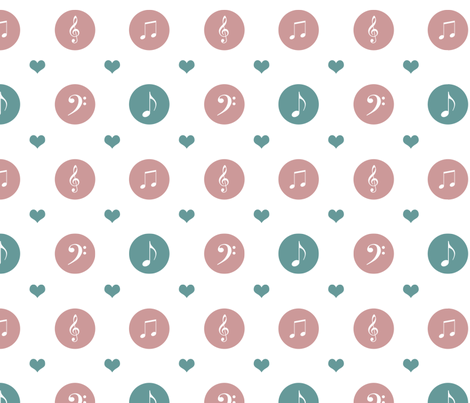 Music Notes and Hearts fabric by pencreations on Spoonflower - custom fabric