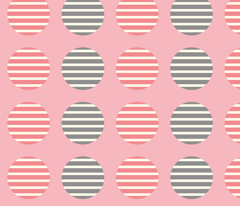 Pink Striped Circles fabric by peacefuldreams on Spoonflower - custom fabric