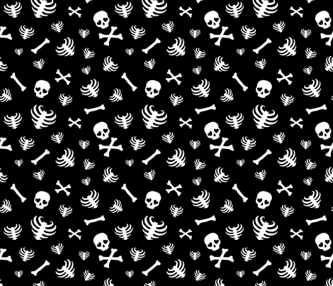 Bone Scatter - Black fabric by edenki on Spoonflower - custom fabric