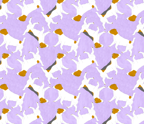 Trotting Russell Terriers - purple