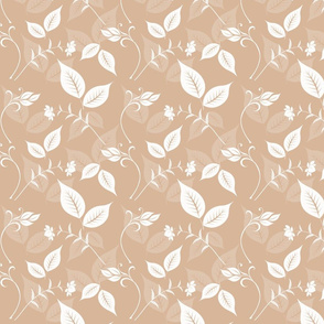 Peach and White Floral with Leaves