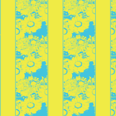 Daisy stripes, yellow & blue fabric by nalo_hopkinson on Spoonflower - custom fabric