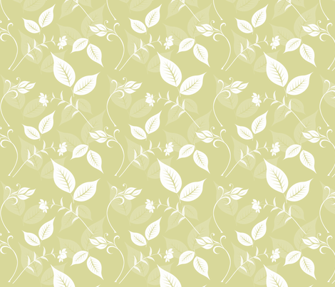 Golden Yellow Floral with Leaves fabric by peacefuldreams on Spoonflower - custom fabric