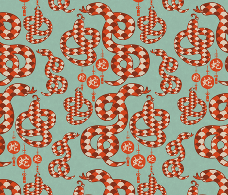 Year of the Water Snake fabric by billiewren on Spoonflower - custom fabric