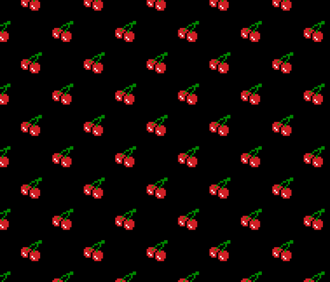 8 Bit Cherry - Black fabric by vanityblood on Spoonflower - custom fabric