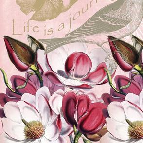 Romantic Pink Magnolia Song Bird
