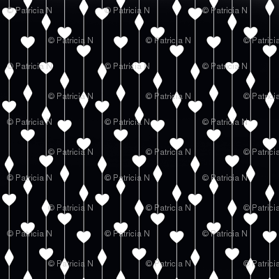 Black and White Hearts and Diamonds