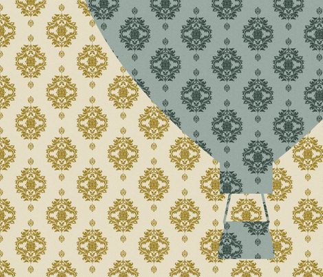 Damask Hot Air Balloon fabric by pencreations on Spoonflower - custom fabric