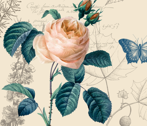 Peach Rose Vintage fabric by peacefuldreams on Spoonflower - custom fabric