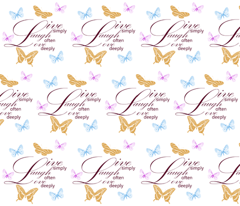 Live, Laugh, Love Butterflies fabric by peacefuldreams on Spoonflower - custom fabric